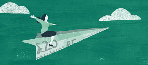 Woman flying on pound banknote paper aeroplane