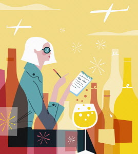 Fashionable woman writing list drinking wine