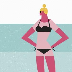 Sunburnt woman in bikini