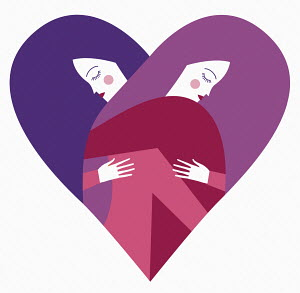 Two women embracing in heart shape