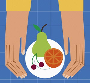 Hands with healthy fruit on plate