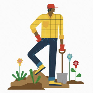 Man resting digging garden
