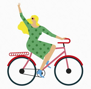 Woman waving riding bike