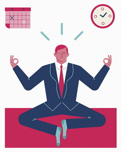 Businessman trying yoga