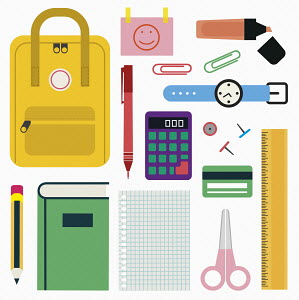 Backpack and school stationery