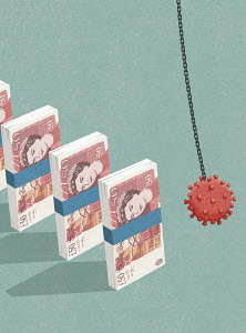 Coronavirus wrecking ball collapsing bundles of British banknotes