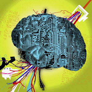 Brain in shape of a motherboard, data and person using laptop