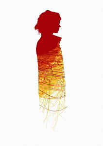 Abstract red pattern on woman's outline
