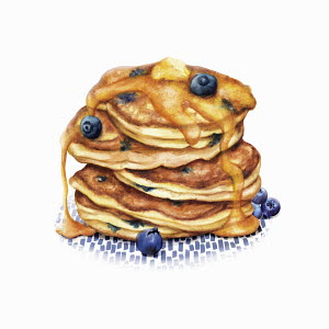 Heap of blueberry pancakes