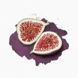 Halved fresh fig