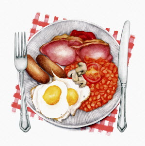 Traditional English fried breakfast