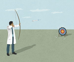 Scientist aiming syringe arrows at coronavirus target
