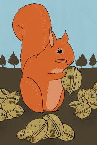 Squirrel with stock market nut stash