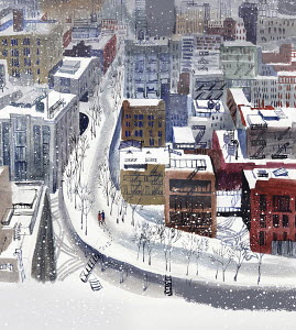 Aerial view of snowy New York City scene