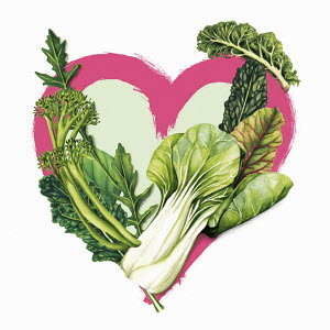 Green vegetables and heart shape