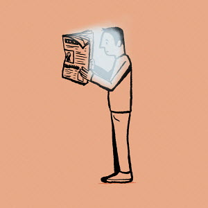 Man reading glowing newspaper