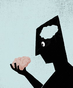 Man with empty head holding his brain