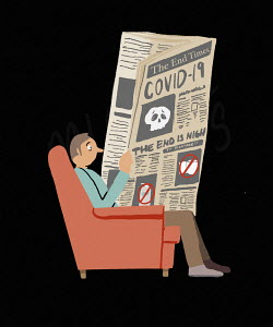 Worried man reading bad news about coronavirus in newspaper