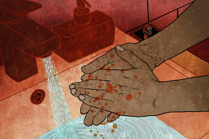 Man washing blood splatters from hands