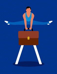 Gymnast balancing on briefcase pommel horse