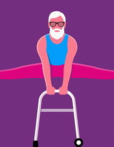 Elderly man doing gymnastics on zimmer frame
