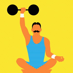 Strongman lifting dumb bell while meditating