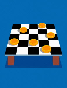 Coins on checkers board