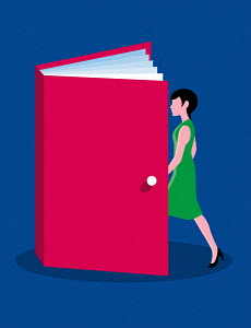 Woman entering a book