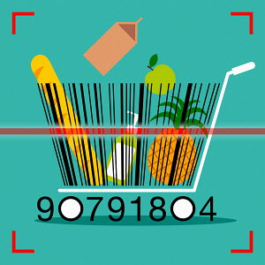 Barcode shopping trolley