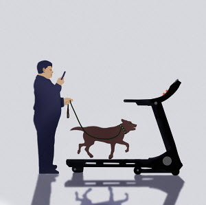 Overweight man standing still using running machine to walk the dog
