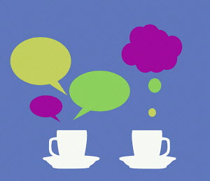 Speech and thought bubbles over cups of tea