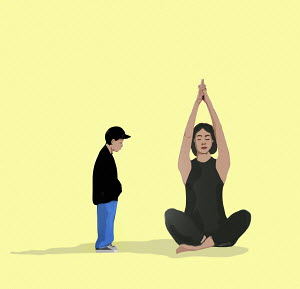 Child waiting while mother does yoga