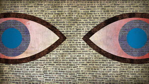 Large eyes in brick wall