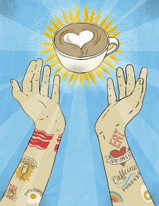 Tattooed arms reaching out for cup of barista coffee