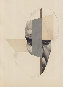 Surreal cut paper shapes and male face