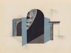 Part of face in surreal architectural design