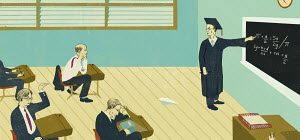 Unruly businessmen in classroom