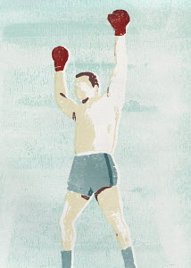 Winning boxer with arms raised
