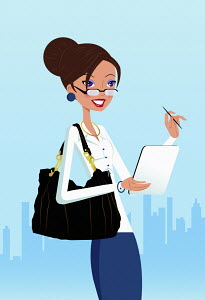 Smiling businesswoman with digital tablet in city