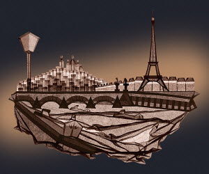Paris scene in folded paper