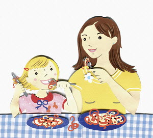 Mother and daughter eating spaghetti together