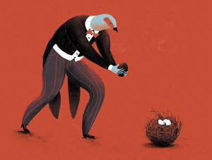 Cuckoo dressed as gentleman putting egg in nest