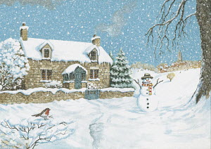 Cute snowman in snowy scene