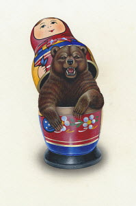 Aggressive bear emerging from Russian doll