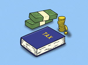Piles of money and tax book
