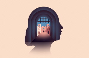 Fortress entrance inside of woman's head