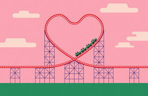 Heart shaped rollercoaster track
