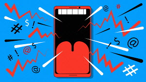 Smart phone as noisy open mouth