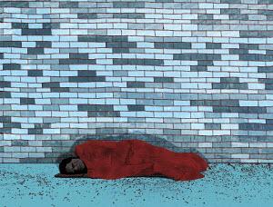 Homeless person asleep on the street