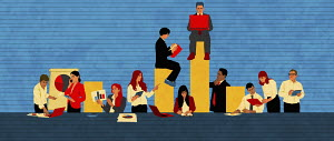 Business people analysing data